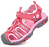 DADAWEN Boy's Girl's Outdoor Athletic Strap Breathable Closed-Toe Water Sandals (Toddler/Little Kid/Big Kid) Hot Pink US Size 13 M Little Kid