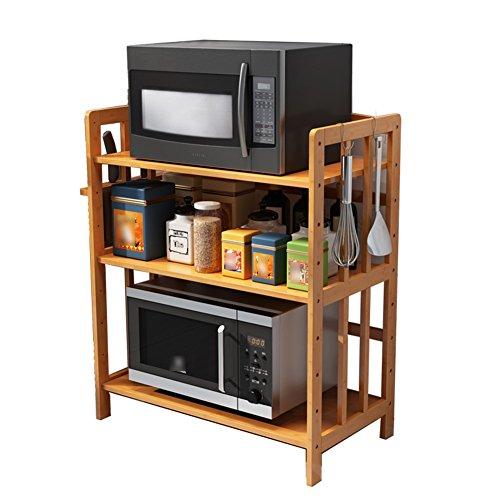 Dongyd 3 niveaux support de four à micro-ondes en bois massif support étagère stockage des épices Bakers Rack, cuisine salle de bain maison étagère organisateur hauteur réglable, 4 tailles disponibles
