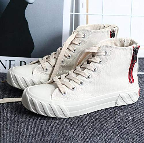 RONGXIE Nieuwe Populaire Mode Rits Vrouwen Canvas Schoenen Hip Top Ademende Dames Platform Sneakers Lace Up Casual Vulcanize Schoenen