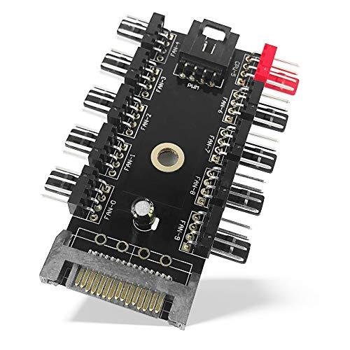Fan Hub PWM - 10 PWM Lüfter | SATA Power 4-Pin Fan 10 Port Controller Splitter Lüfter-Hub für Gehäuselüfter | optimale Kühlung für Ihr Gehäuse und PC-Hardware