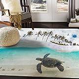ALAZA Tropical Hawaiian Green Sea Turtle Palm Tree Area Rug Rugs for Living Room Bedroom 7' x 5'