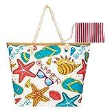 Bolso de Playa grande para Mujer, Bolso de Mombro de Lona con Cremallera, Bolso de Playa para Mujer, Shopper Bolsa para Viajes, Compras, Vacaciones, etc. (Playa de arena)