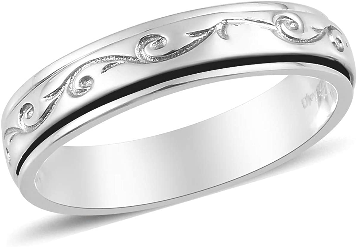 Shop LC Inexpensive Mens Womens Spinner Band Ring Silver overseas Statem Sterling 925