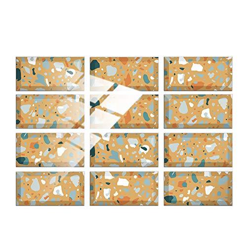 Hiseng 24/48 Piezas Rectángulo Adhesivos Decorativos Azulejos Pegatinas para Baldosas del Baño, Mármol Patrón Mosaico Estilo Cocina Resistente al Agua Pegatina de Pared (Amarillo,24Piezas)