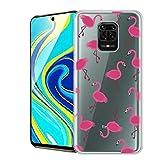 ZhuoFan Funda para Xiaomi Redmi Note 9 Pro, Cárcasa Silicona Transparente con Dibujos Diseño Suave TPU Antigolpes de Protector Piel Case Fundas para Movil Redmi Note 9 Pro / 9S, Flamingos
