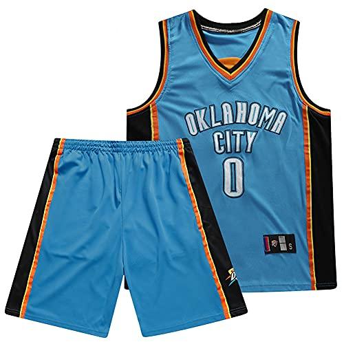BOLUN Jersey de Baloncesto de Westbrook, Jersey de Entrenamiento de Ropa Deportiva, Jersey de Baloncesto Bordado con Letras y números cosidos, Adecuado para Hombres/niño Blue-XL