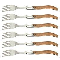 flyingcolor laguiole set di forchette in acciaio inossidabile, manico in legno d'ulivo, confezione regalo, 6 pezzi. i-tls302-fa