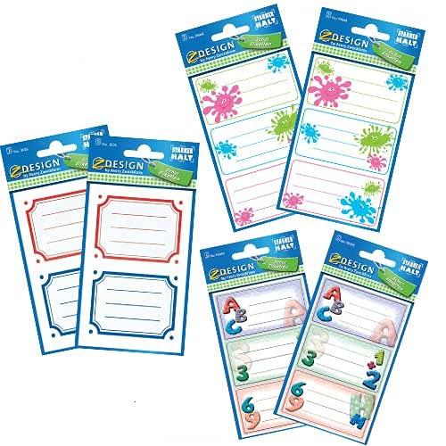 Avery Italia Kit etichette scuola per libri e quaderni, 3 fantasie, 2 pezzi per ciascuna fantasia, 6 pezzi