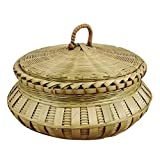 GARNECK Canasta de Almacenamiento Tejida Exhibición Canasta de Bambú Canasta de Pastel de Dulces de Frutas Almacenamiento de Huevos con Tapas Canastas para Servir Alimentos Verde Claro