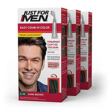 Just For Men Easy Comb-In Color (Formerly Autostop), Gray Hair Coloring Kit for Men with Comb Applicator Included, Easy…