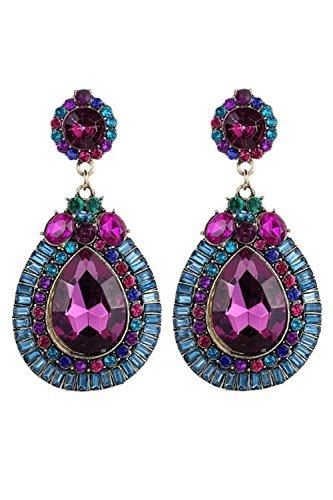 Pendientes - SODIAL(R)Pendientes de joyeria de moda de flor colorida de gota de agua