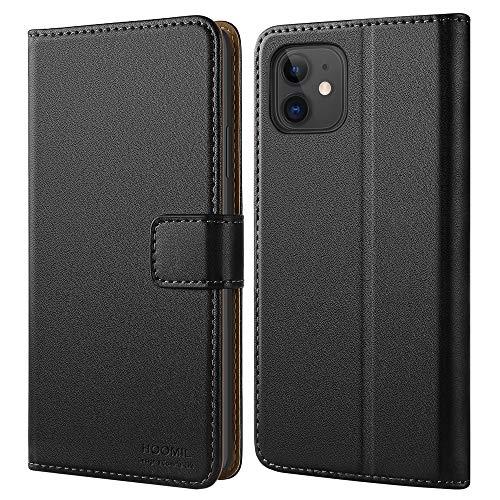 HOOMIL Hülle für iPhone 11, [Kabelloses Laden] Premium Leder Flip Hülle Cover Handyhülle für iPhone 11 Tasche, Schwarz