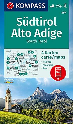 KOMPASS Wanderkarte Südtirol, Alto Adige, South Tyrol 1:50 000: 4 Wanderkarten 1:50000 mit 1 Panorama im Set inklusive Karte zur offline Verwendung in der KOMPASS-App. Fahrradfahren. Skitouren.: 699