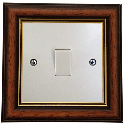 Switch Surround Frame Cover Finger Plate Regency Gold and Mahogany Effect