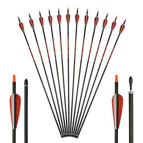 SHARROW 12PCS Flechas de Carbono Tiro con Arco Flechas y saetas 31'' Spine 400 para Arco Compuesto Recurvo Flechas de Caza para Caza o práctica