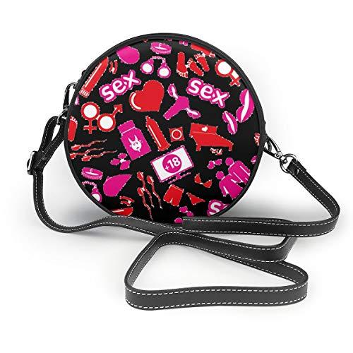 Sexy Theme Runde Umhängetasche Geldbörse Crossbody-Tasche PU Leder Reißverschluss Schultertasche Handy Geldbörse für Frauen personalisierbar
