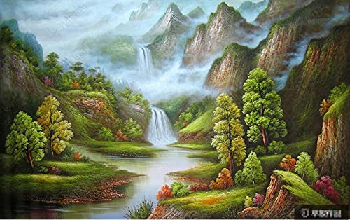Wallpaper 3D Wallpapers Walls Mural Oil Painting River and Mountain Peak Landscape Wall Murals for Bedrooms Living Room Tv Background Wall Mural Decoration Art 430x300cm