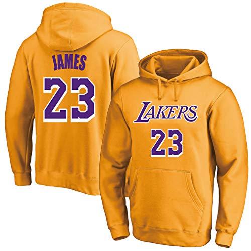 Uniformes de baloncesto para hombres y mujeres, Lakers No. 23 James jersey, jersey deportivo cálido, más sudadera con capucha de terciopelo,, 123, amarillo, M
