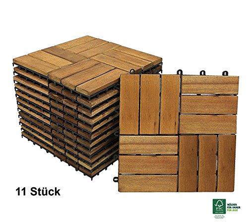 SAM Terrassenfliese Variante 2 Akazienholz, 11er Spar-Set für 1m², Garten- Klickfliese, Bodenbelag, Drainage, FSC®100%