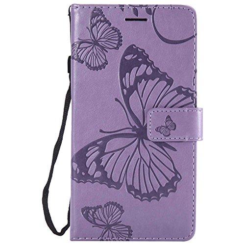DENDICO Hülle für Moto X Style, PU Leder Handyhülle Schutzhülle mit Standfunktion & Kartenfach für Moto X Style - Violett