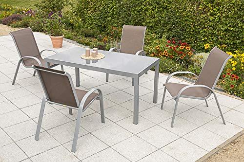 MERXX 5tlg. Amalfi Set, 4 Amalfi Stapelsessel, 1 Tisch, 150 x 90 cm, Taupe