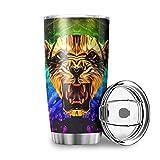 Lion Tiger Leopard - Tazza da viaggio in acciaio INOX a doppia parete, con coperchio isolato sottovuoto, per casa, ufficio, per caffè, cacao, acqua, tè, bianco, 600 ml