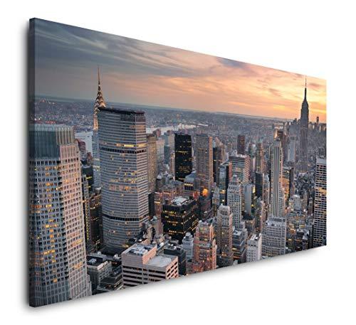 Paul Sinus Art New York Skyline 120x 60cm Panorama Leinwand Bild XXL Format Wandbilder Wohnzimmer Wohnung Deko Kunstdrucke