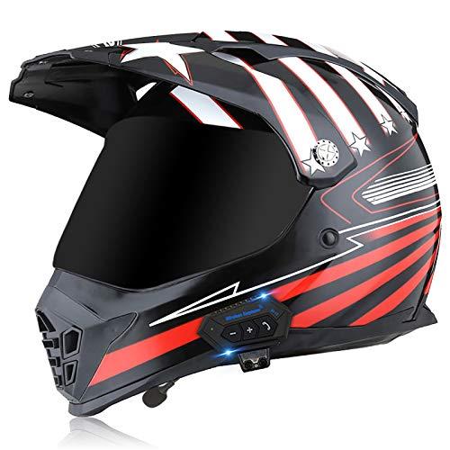 Bluetooth Motocross Helmet Adult ATV Motorbike Mountain Bike Full Face Men Comfortable Safety,for Adult Men Women Mountain Bike Full Face Off Road,DOT/ECE Approved