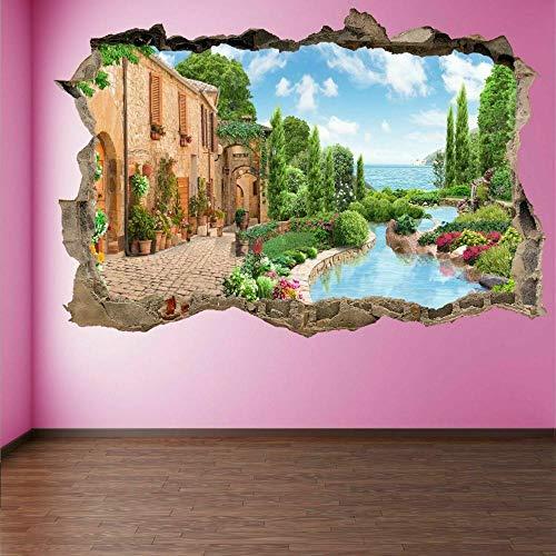 OMCCXO 3D Vinilos Decorativos Personalizados a Todo Color Dream House Mural de la Calcomanía de Las Etiquetas Engomadas del Arte de la Pared Agrietado 12x20inch(30x50cm)