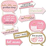 Big Dot of Happiness Funny Pink and Gold - Hello Little One - Girl Baby Shower Photo Booth Props Kit - 10 Piece