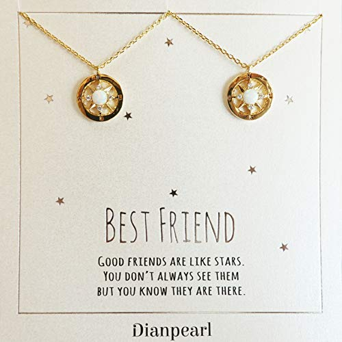 Opal compass necklace, Best friend necklace for 2, BFF Necklace, friendship necklace for 2, gold dainty necklace, Christmas gift, Graduation gifts, long distance