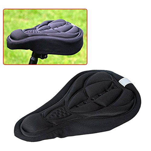 Fahrradsattel Sattelbezug 3D gepolstert weiches Kissen bequem atmungsaktiv Fahrrad Polster Sattelkissen Sitzbezug für Fahrrad Zubehör schwarz