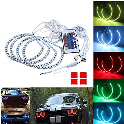 Qiuko RGB Multi-color LED Angel Eye Light Halo Ring Demon KIT Headlight For Dodge Challenger 2008-2014