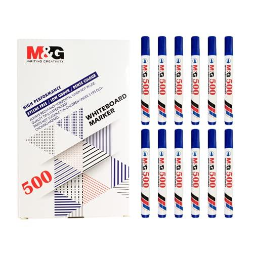 M&G Rotulador de color azul con punta redonda, de secado rápido, pizarra de cristal, tinta borrable, marcador azul (12 rotuladores azules)