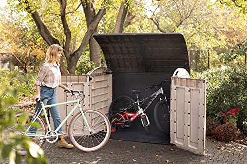 Keter Store-It Out Ultra Outdoor Garden Storage Bike Shed, Beige and Brown, 177 x 113 x 134 cm