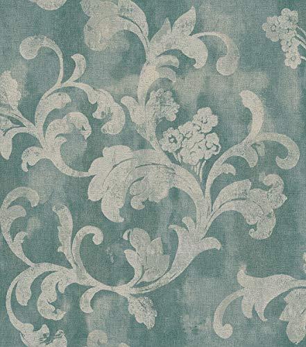 rasch Tapete 455359 aus der Kollektion Florentine II – Vliestapete in Blau mit floralen Ranken – 10,05m x 53cm (L x B)