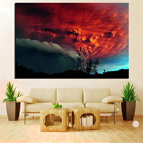 QWESFX Art Eruption Volcano Modern Wandbild Kunst Kunst Ölgemälde Home Decoration Leinwand Malerei (Druck No Frame) B 40x80CM