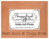 ThisWear Uncle Aunt Gift Best Ever Cute Keepsake Natural Wood Engraved 4x6 Landscape Picture Frame Wood