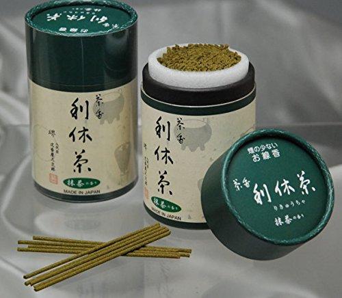 ハセガワ仏壇 線香 [利休茶] 約320本 進物用線香 お茶の香り (短寸 バラ詰) 筒入 約9cm