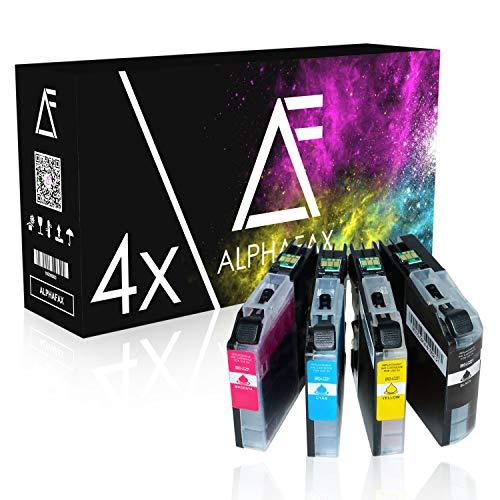 Alphafax 4 Tintenpatronen kompatibel für Brother LC-221 für Brother DCP-J562DW, MFC-J480DW, MFC-J680, MFC-J880, MFC-J1100 Series - LC221BK - Schwarz 3ml, Color je 3ml