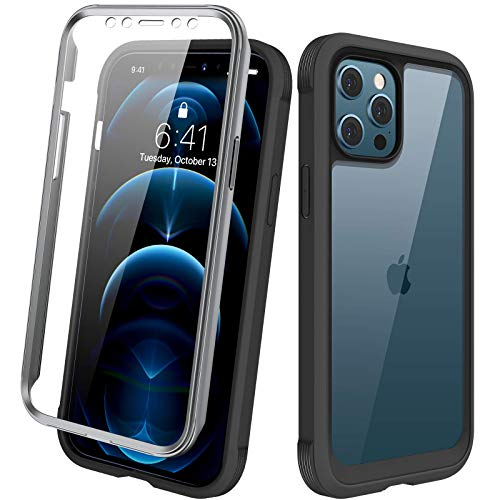 Diaclara Designed for iPhone 12 Pro Max Case, Full Body Rugged Case with Built-in Touch Sensitive Anti-Scratch Screen Protector, Soft TPU Bumper Case for iPhone 12 Pro Max 6.7' (Black and Clear)