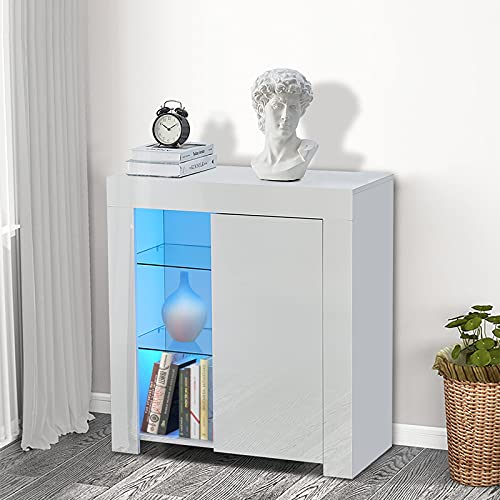 CLIPOP Modern White LED Sideboard Matt Body and High Gloss Fronts Storage Sideboard Cabinet Cupboard with 2 Glass Shelves Display Cabinet Unit for Living Room Dining Room Furniture