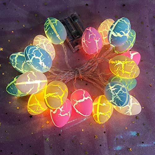 CQWW Guirnalda de luces LED con forma de huevos de Pascua con cable USB, 1,5 m, 10 ledes, funciona con pilas, decoración para fiestas de Pascua, hogar, habitación de los niños