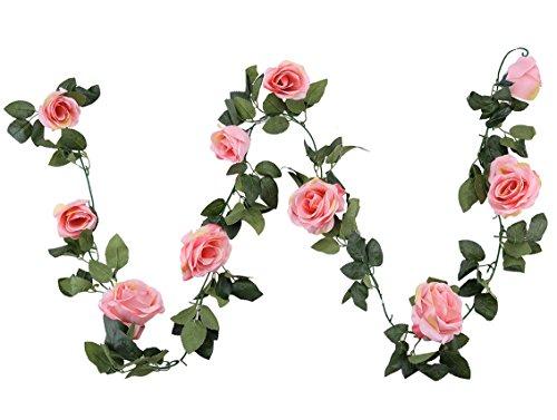 Houda Ghirlanda vintage di fiori artificiali in falsa seta per decorazione foglie di piante sospese, per casa, giardino, muri, matrimoni. 1 Pezzo Pink