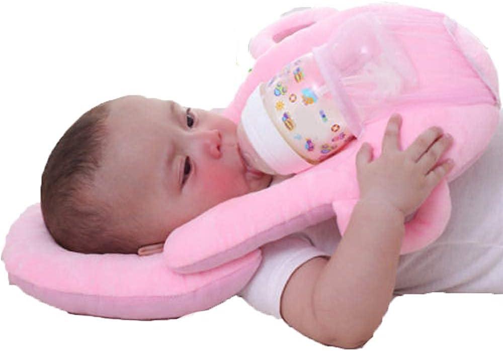 Multifunctional Portable Baby Feeding Pillows Detachable Self-Feeding Lounger Baby Bottle Holder Infant Nursing Pillows (Pink, One Size)