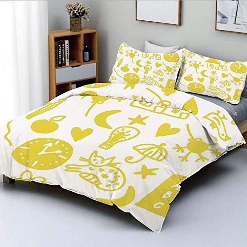 Juego de funda de edredón, diseño divertido para niños con diseño de gatos, relojes con personajes alegres, juego de cama decorativo de 3 piezas con 2 fundas de almohada, amarillo blanco, el mejor reg