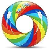 Gogowin 浮き輪 レインボー 大人用 直径 108CM フロート かわいい 虹 浮輪 ウキワ スイミング 浮具 うきわ 水遊び 海 プール ビーチ 夏休み