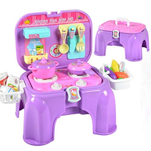ASDG Giochi per Bambini Giocattoli per Bambini House Kitchen Toys Cooking Simulazione Cucina Cucina Banco può Ospitare Sedia del Gioco,Viola