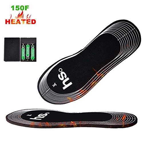 Rziioo Heizsohlen, Cut-to-Fit Mehrere Größen Unisex Batterie (Nicht im Lieferumfang enthalten) betrieben Winter beheizt Schuhe Einlegesohlen