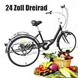 YIYIBY - Triciclo para Adultos, Bicicleta de Carga para Adultos, Bicicleta para Adultos, Bicicleta para Adultos, Ajustable 26', 3 Ruedas, 6 velocidades